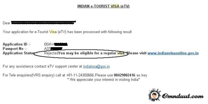 VISA India Tolak