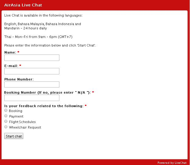 how to use live chat airasia